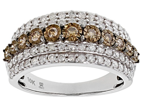 Champagne And White Diamond 10k White Gold Ring 1.00ctw
