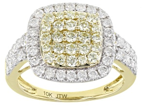 Natural Yellow And White Diamond 10K Yellow Gold Ring 1.50ctw