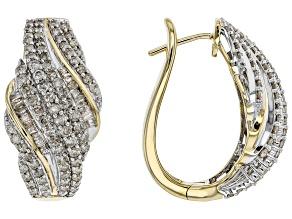 White Diamond 10k Yellow Gold Earrings 2.00ctw