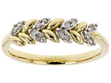 Picture of White Diamond 10K Yellow Gold Ring 0.10ctw