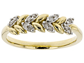 White Diamond 10K Yellow Gold Ring 0.10ctw