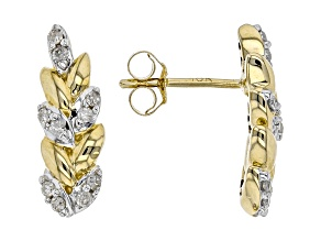 White Diamond 10K Yellow Gold Earrings 0.15ctw