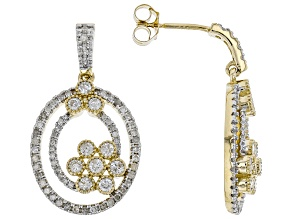 White Diamond 10K Yellow Gold Earrings 0.82ctw