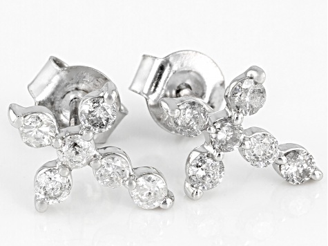 White Diamond 10K White Gold Earrings 0.50ctw