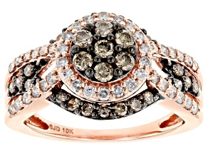 Champagne And White Diamond 10K Rose Gold Cluster Ring 1.00ctw