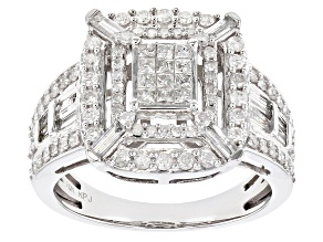 White Diamond 10K White Gold Ring 1.41ctw