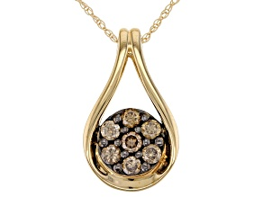 Champagne Diamond 10K Yellow Gold Pendant With Chain 0.50ctw
