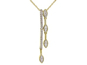 White Diamond 10K Yellow Gold Pendant 0.25ctw