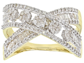 White Diamond 10K Yellow Gold 1.00ctw