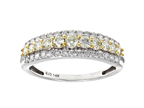 Natural Yellow And White Diamond 14K White Gold Band Ring 0.75ctw