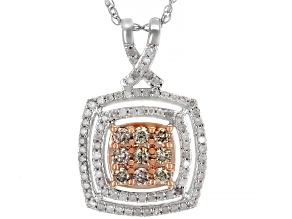 Champagne And White Diamond 10K White Gold Pendant 0.50ctw