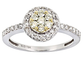 White And Natural Yellow Diamond 10K White Gold Cluster Ring 0.65ctw