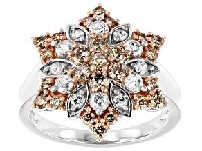 Champagne & White Diamond 10K White Gold Ring 1.25ctw