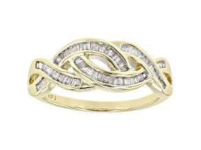 White Diamond 10K Yellow Gold Ring 0.33ctw