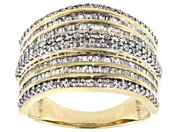 Picture of White Diamond 10K Yellow Gold Multi-Row Ring 1.15ctw