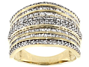 White Diamond 10K Yellow Gold Multi-Row Ring 1.15ctw