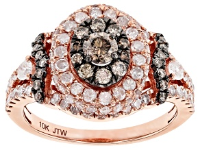 White And Champagne Diamond 10K Rose Gold Cluster Ring 1.50ctw