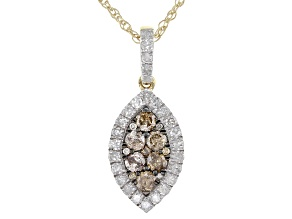 Champagne And White Diamond 10K Yellow Gold Pendant With 18