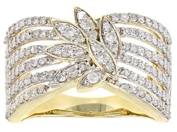Picture of White Diamond 10K Yellow Gold Open Design Ring 0.90ctw