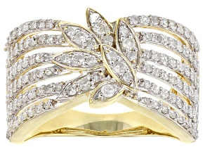 White Diamond 10K Yellow Gold Open Design Ring 0.90ctw