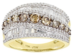 Champagne & White Diamond 10K Yellow Gold Wide Band Ring 1.63ctw