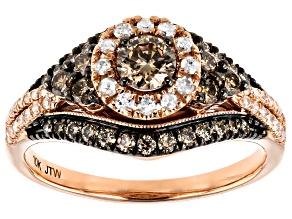 Champagne And White Diamond 10K Rose Gold Halo Ring 1.00ctw