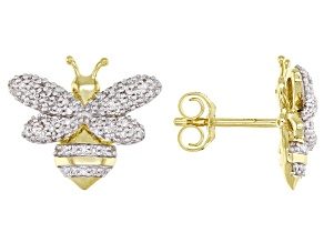White Diamond 10K Yellow Gold Bee Earrings 0.33ctw