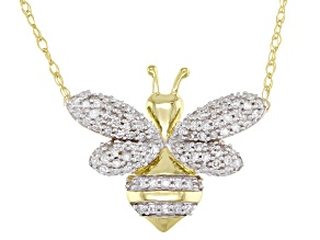 White Diamond 10K Yellow Gold Necklace Bee 0.16ctw