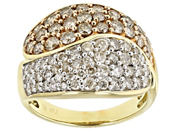 Picture of Champagne & White Diamond 10K Yellow Gold Dome Ring 2.00ctw