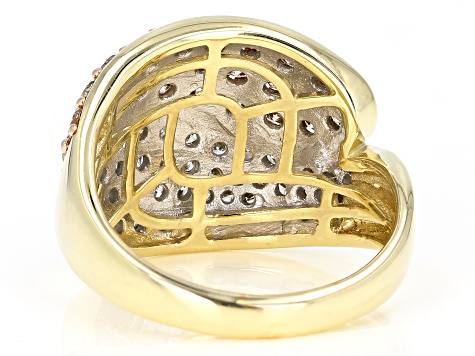 Champagne & White Diamond 10K Yellow Gold Dome Ring 2.00ctw