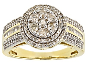White Diamond 10K Yellow Gold Ring 0.75ctw
