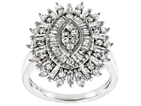 White Diamond 10K White Gold Cocktail Ring 1.25ctw