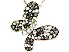 Champagne & White Diamond 10K Three-Tone Gold Pendant With 18
