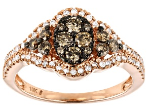 Champagne & White Diamond 10K Rose Gold Ring 0.75ctw