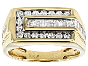 White Diamond 10K Yellow Gold Gents Ring 0.90ctw