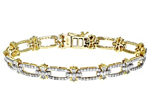 White Diamond 10K Yellow Gold Bracelet 2.50ctw