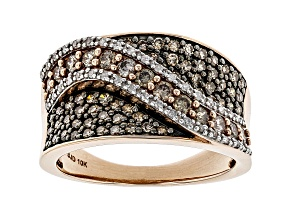 Champagne & White Diamond 10K Rose Gold Wide Band Ring 1.00ctw