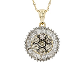 Champagne & White Diamond 10K Yellow Gold Pendant 1.40ctw