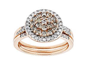 Champagne & White Diamond 10K Rose Gold Cluster Ring With Bands 1.00ctw