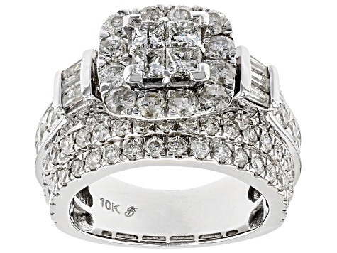 White Diamond 10K White Gold Ring 3.90ctw