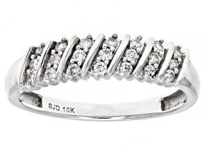 White Diamond 10K White Gold Ring 0.20ctw