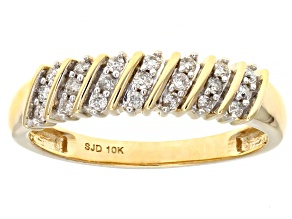 White Diamond 10K Yellow Gold Ring 0.20ctw