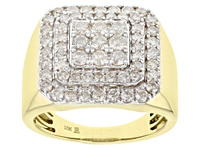 White Diamond 10K Yellow Gold Gents Ring 2.00ctw
