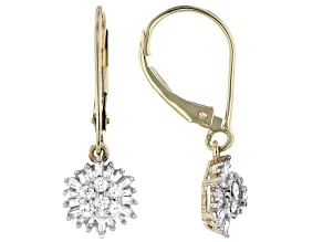 White Diamond 10K Yellow Gold Earrings  0.50ctw