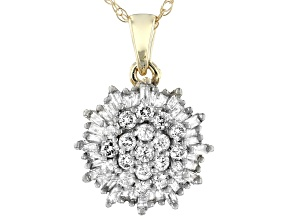 White Diamond 10K Yellow Gold Pendant 0.45ctw