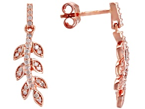 White Diamond 10K Rose Gold Earrings 0.25ctw