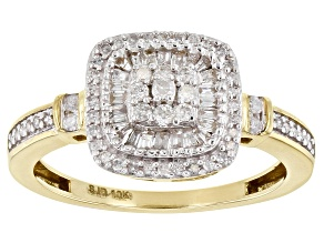 White Diamond 10K Yellow Gold Ring 0.40ctw