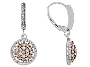 Champagne & White Diamond 10K White Gold Earrings 0.95ctw
