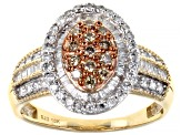 Champagne & White Diamond 10K Yellow Gold Ring 1.00ctw