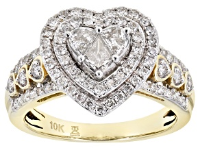 White Diamond 10k Yellow Gold Heart Cluster Ring 1.00ctw